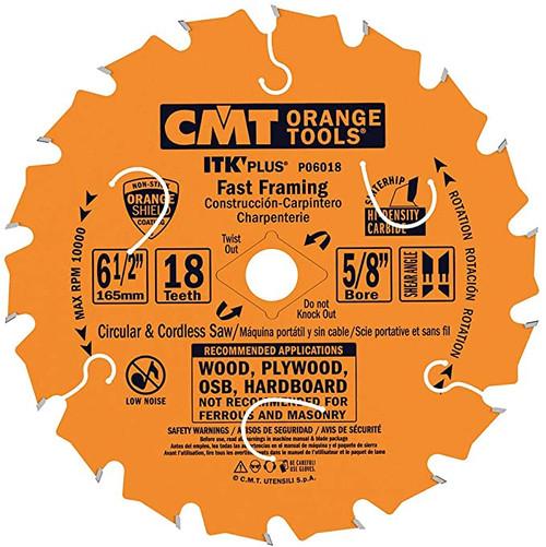 "CMT ITK Plus Fast Framing Circular Saw Blade 6-1/2"" 18T 10 ct Box"