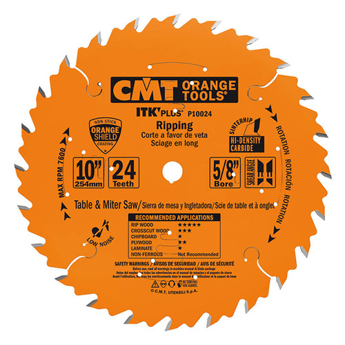 "CMT ITK Plus Ripping Saw Blade 10"" 24T"