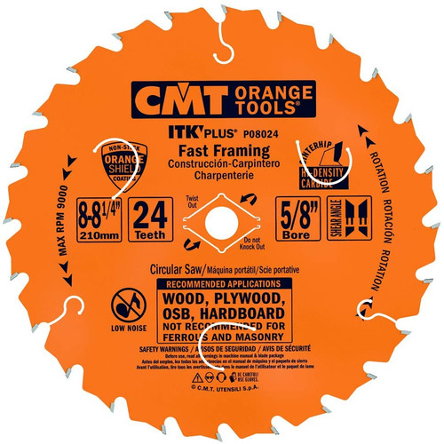 "CMT ITK Plus Fast Framing Circular Saw Blade 8-1/4"" 24T"