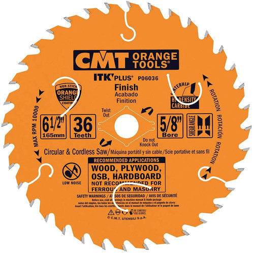 "CMT ITK Plus Finish Circular Saw Blade 6-1/2"" 36T"