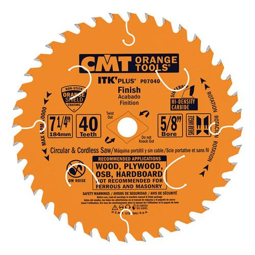 "CMT ITK Plus Finish Circular Saw Blade 7-1/4"" 40T 10 ct Box"