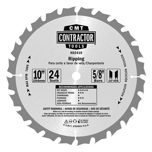 """CMT ITK Contractor Ripping Saw Blade 12"""" 24T"""