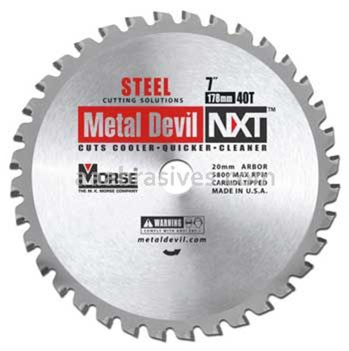 "Morse Metal Devil NXT Steel Cutting Saw Blade 7"" 40T"