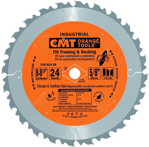 """CMT ITK Industrial Ripping Saw Blade 8-1/4"""" 24T"""