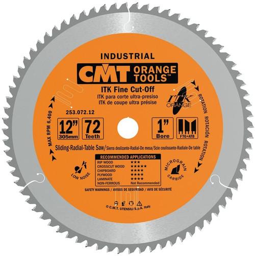 "CMT ITK Industrial Fine Cut-Off Sliding Compound Miter Saw Blade 12"" 72T"