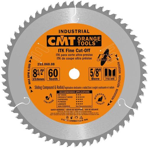 "CMT ITK Industrial Fine Cut-Off Sliding Compound Miter Saw Blade 8-1/2"" 60T"