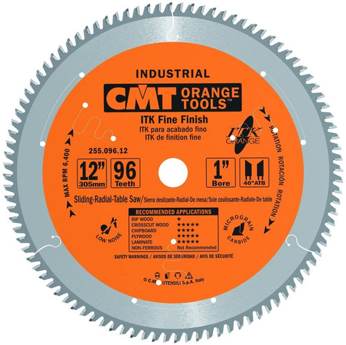 "CMT ITK Industrial Fine Finish Saw Blade 12"" 96T"