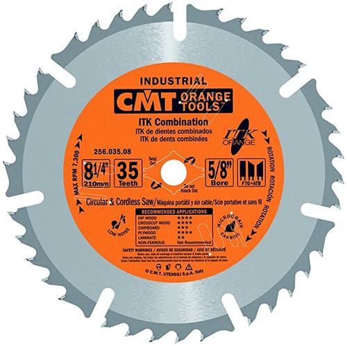 "CMT ITK Industrial Combination Saw Blade  8-1/4"" 35T"