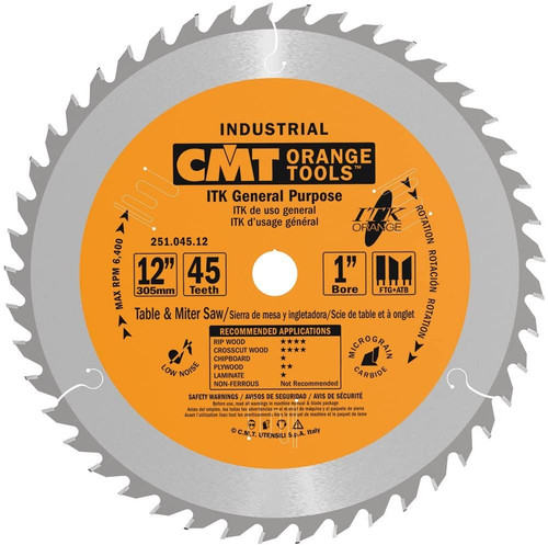 "CMT ITK Industrial General Purpose Saw Blade 12"" 45T"