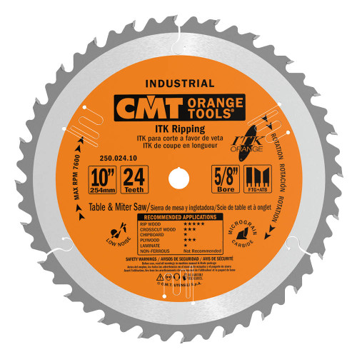"""CMT ITK Industrial Ripping Saw Blade 10"""" 24T"""