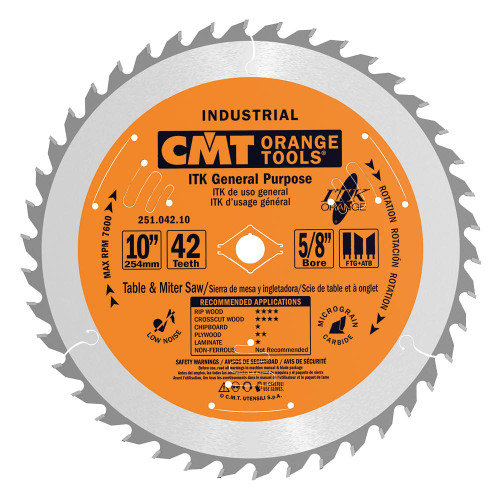"CMT ITK Industrial General Purpose Saw Blade 10"" 42T"