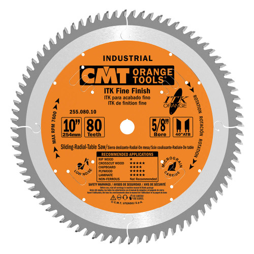 "CMT ITK Industrial Fine Finish Saw Blade 10"" 80T"
