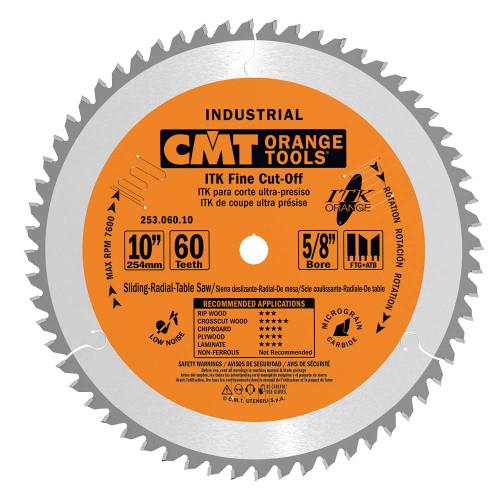 "CMT ITK Industrial Fine Cut-Off Sliding Compound Miter Saw Blade 10"" 60T"