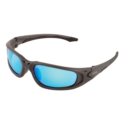 Exile Gray Frame/Blue Mirror Lens Safety Glasses