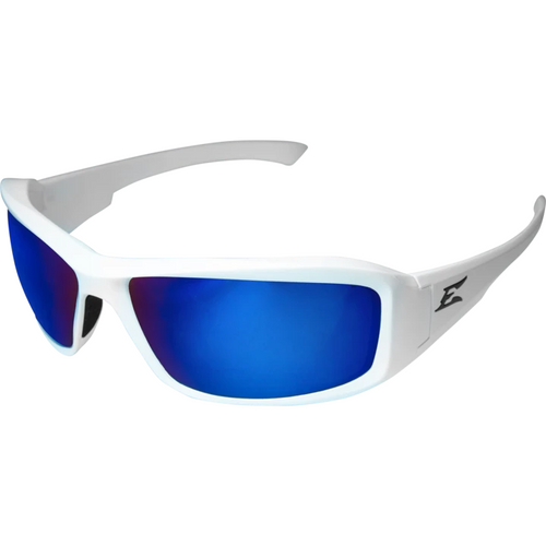Brazeau White Frame/Polarized Blue Mirror Lens Safety Glasses