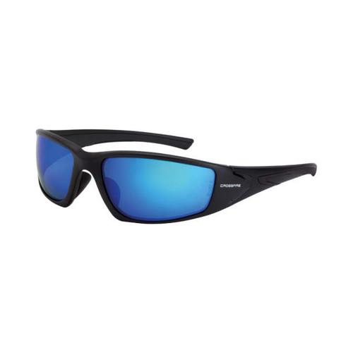 Crossfire RPG Matte Black Frame/Polarized Blue Mirror Lens Safety Glasses