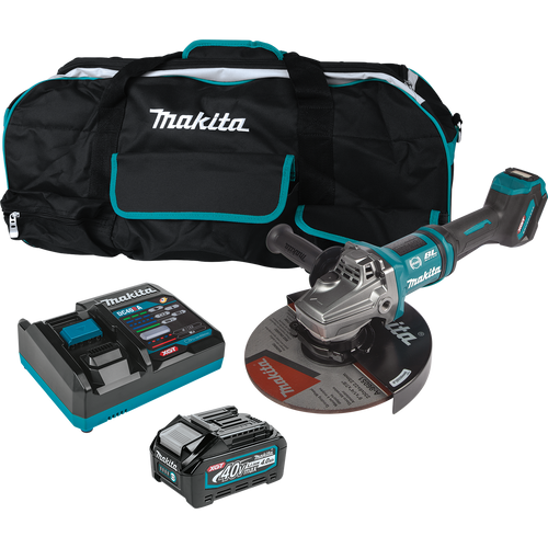 "Makita 40V max XGT® Brushless Cordless 7""/9"" Paddle Switch Angle Grinder Kit, with Electric Brake, AWS® Capable (4.0Ah)"