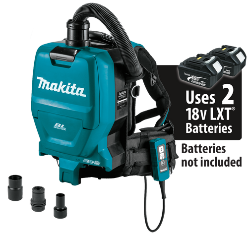 Makita 36V (18V X2) LXT Li-Ion Brushless Cordless 1/2 Gal Hepa Filter Backpack Dry Dust Extractor/Vaccum, Tool Only