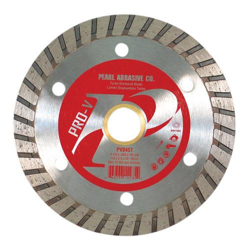 Pearl Abrasive P2 Pro-V Flat Core Diamond Turbo Blade 4-1/2 x .080 x 7/8, 5/8 arbor PV045T