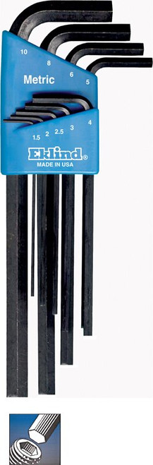 Ecklind 9 pc Long Series Hex-L Key Set with Holder 1.5MM-10MM 10609