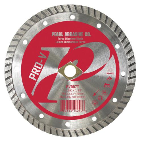 Pearl Abrasive P2 Pro-V Flat Core Diamond Turbo Blade 7 x .090 x (DIA), 5/8 arbor PV007T