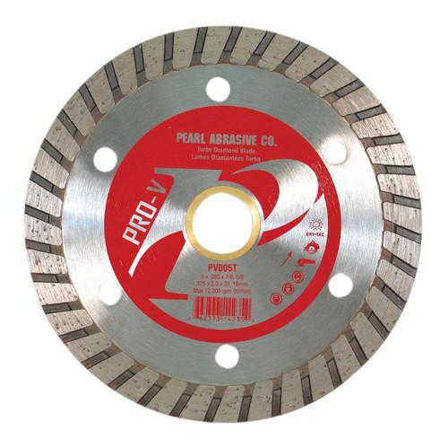 Pearl Abrasive P2 Pro-V Flat Core Diamond Turbo Blade 5 x .080 x 7/8, 5/8 arbor PV005T