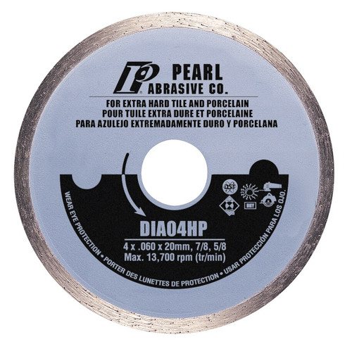 Pearl Abrasive P5 Diamond Blade for Porcelain 4 x .060 x 20mm, 7/8, 5/8 DIA04HP