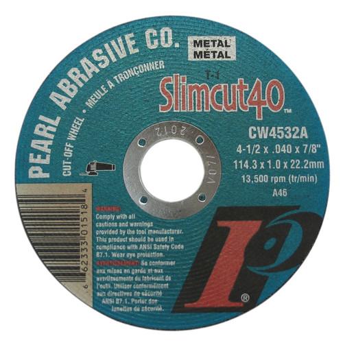 Pearl Abrasive Aluminum Oxide Slimcut 40 Type 1 Cut Off Wheel 4-1/2 x .040 x 7/8 25 Count Box CW4532A