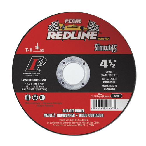 Pearl Abrasive Redline Super Premium Slimcut Type 1 Cut Off Wheel 4-1/2 x .045 x 7/8 25 Count Box CWRED4532A