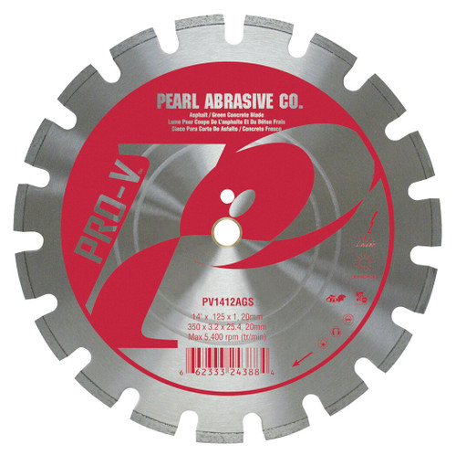 Pearl Abrasive P2 Pro-V Segmented Diamond Blade for Asphalt and Green Concrete 14 x 1 x 1 - 20mm arbor