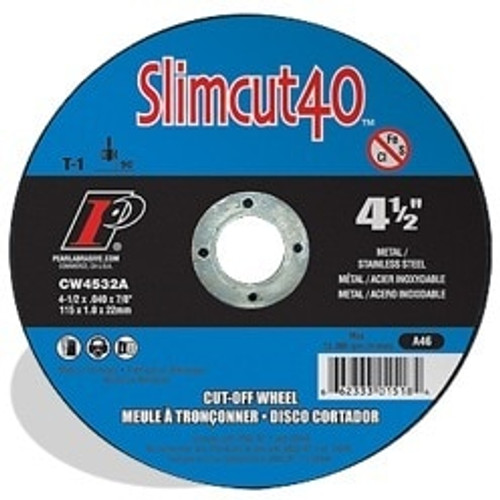 "Pearl Abrasive T-1 Slimcut 40 Metal Cut-Off Wheel 6"" x .040 x 7/8"" 25 ct Box"