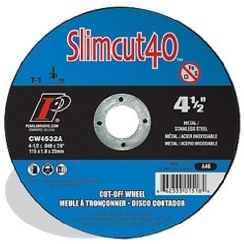 "Pearl Abrasive T-1 Slimcut 40 Metal Cut-Off Wheel 6"" x .040 x 7/8"" 25 ct Box"