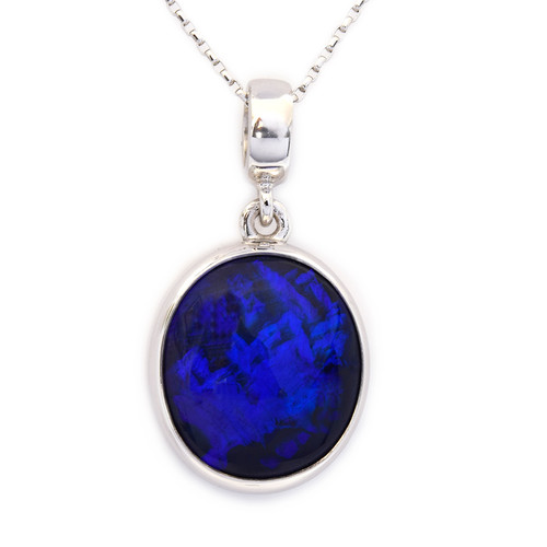Lost Sea Opals - 18k White Gold black opal pendant