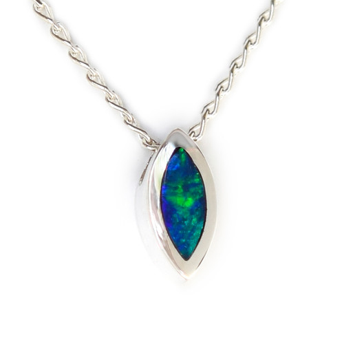 Lost Sea Opals- silver opal inlaid pendant