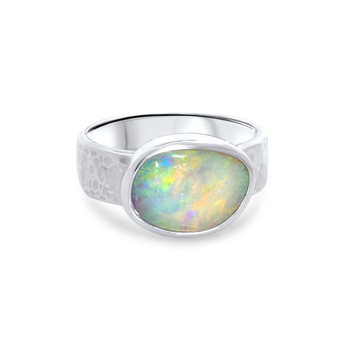 Light opal silver hammered ring.