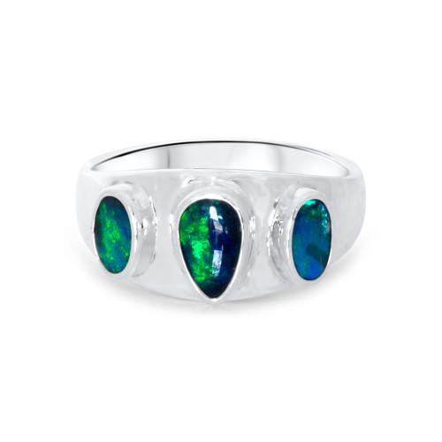 Black Opal ring- Sterling silver