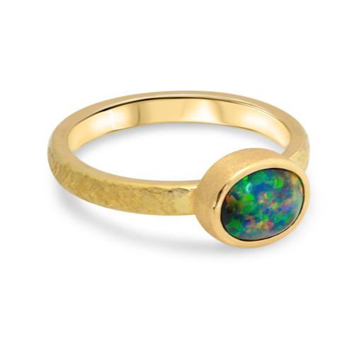 Lost Sea Jewels- Black opal ring -18k gold