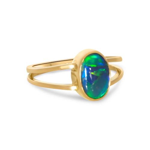 Black Opal 18k ring- Lost Sea Opals