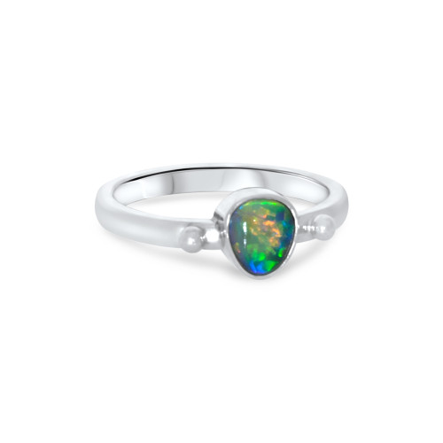 Black Opal - 18 k White gold