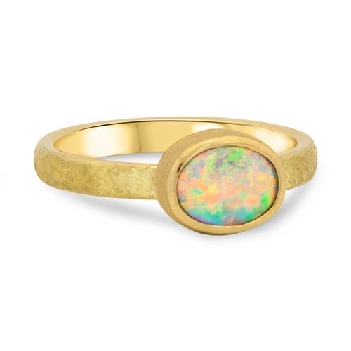 Crystal opal in 18k gold- Lost Sea Opals