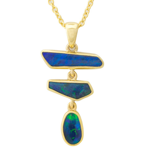 Lost Sea Opals Black Opal - 9k gold pendant