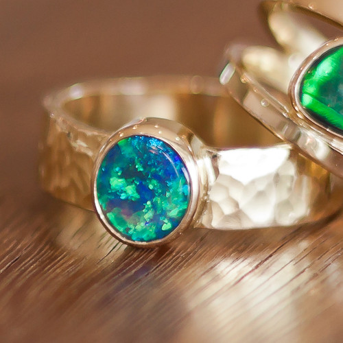 Crystal opal 9k yellow gold ring. Lost Sea Opals