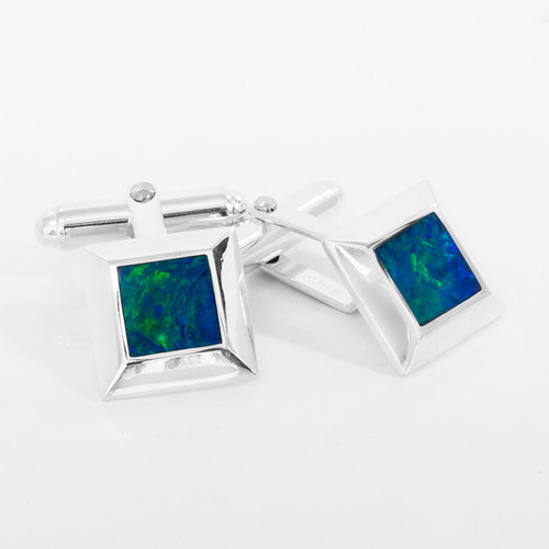 Lost Sea Opal Silver Inlaid Cufflinks