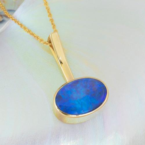 Crystal Opal  9k gold Pendant - Lost Sea Opals