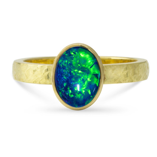 Black opal 18k gold ring