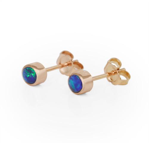 Lost Sea Opals Black Opal Rose Gold Earrings