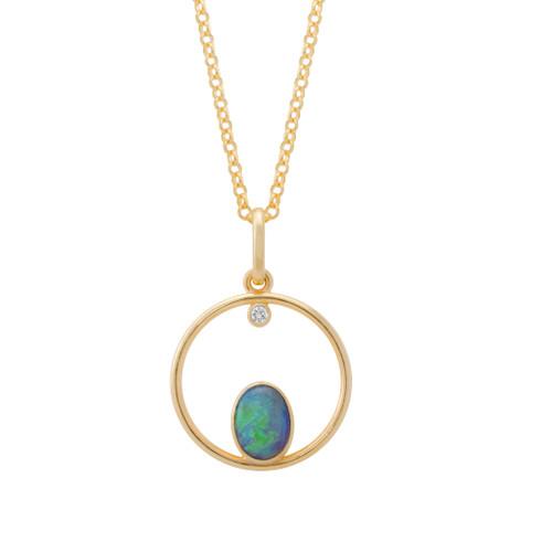 Lost Sea Opals Compass Pendant - 9k Gold Light Opal