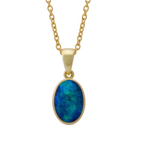 Lost Sea Opals Signature 16mm Pendant - 18k Gold Black Opal