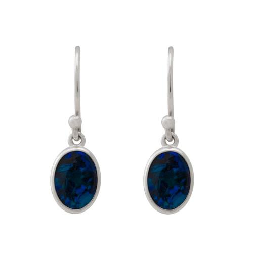 Lost Sea Opals Signature 10mm Drop Earrings - 18k White Gold Black Opal