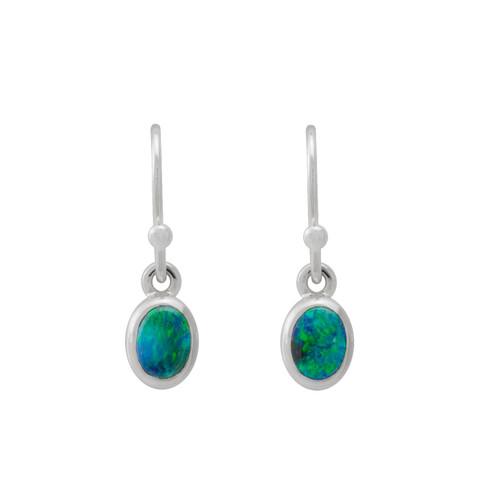 Lost Sea Opals Signature 6mm Petite Drop Earrings - 9k White Gold Black Opal